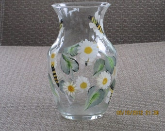 Vase clear glass with daisies and bumble bees hand painted