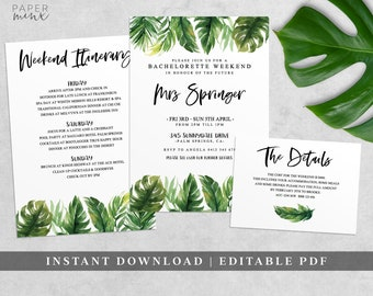 Tropical Bachelorette Weekend Invitation | Bachelorette Itinerary Template | Editable | Tropical Hens Weekend | Hens Party | Tropical Palm