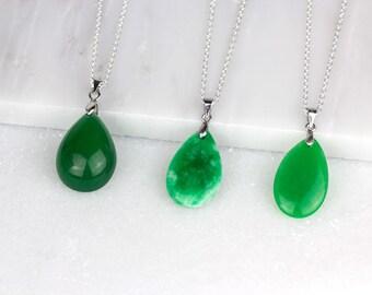Green Jade Pendant/ Carved Jade Pendant/ Green Jade Necklace/ Jade Silver Necklace/ Green Jade Charm