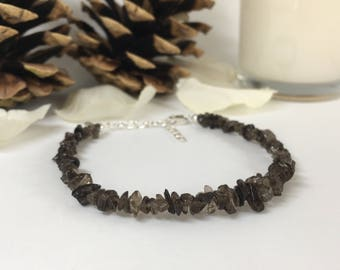 Smoky Quartz Bracelet, Raw Quartz, Sterling Silver, Dainty Bracelet, Gift for Her, Mens Bracelet, Handmade Jewellery, Smokey Quartz