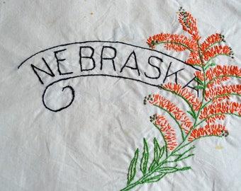 Vintage Hand Embroidered Quilt Square - Nebraska State Flower
