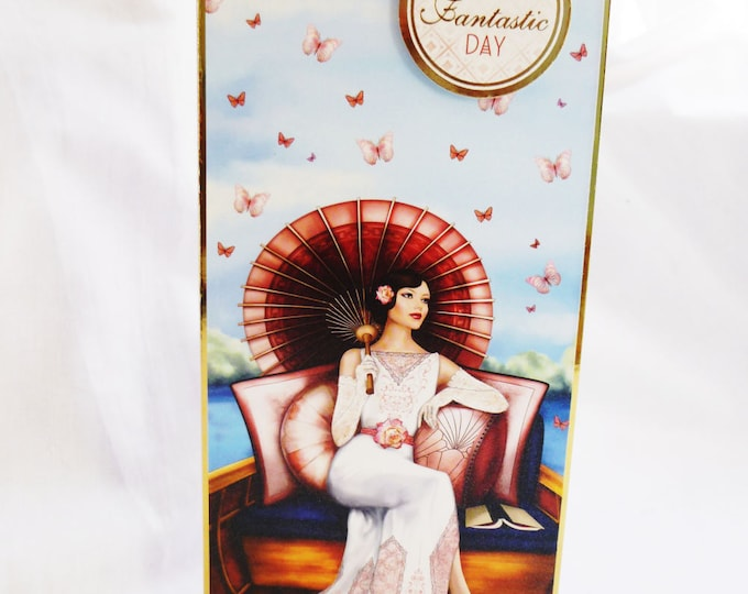 Art Deco Card, Birthday Card, Greeting Card, Lady On a Boat, Female, Any Age, Mother, Sister, Daughter, Niece,  Aunt, Friend