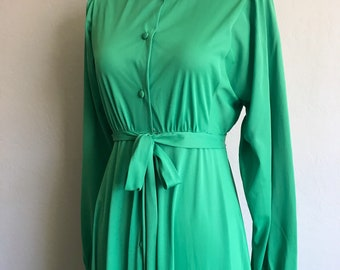 1970s Miss Dior Nightgown / Peignoir / Green / Small