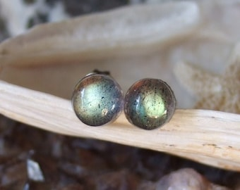 Longer Posts Labradorescence Exists 6mm Round Labradorite Stud Earrings Earings Titanium Post and Clutch Flash Sparkly Magic Hypo Allergenic