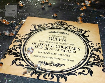 Evil Queen Gothic Fairytale Cocktail Party Invitation - DIY Printable - Once Upon a Time - Snow White Inspired