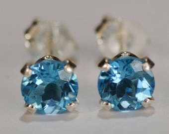 Swiss Blue Topaz Earrings~.925 Sterling Silver Setting~5mm Round Cut~Genuine Natural Mined Gemstones