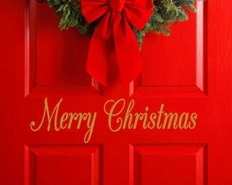 Merry Christmas Decal - Christmas Wall Vinyl Sticker Holiday Decorations Family Kids FREE SHIPPING Holiday Decor Santa Ho Ho Ho Door Decal