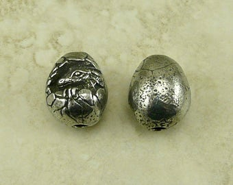 Dragon Baby Green Girl Bead - Dragon Egg Draco Eragon Fantasy Mythology Creature - American Artist Made Lead Free Pewter Silver 144