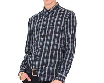 VINTAGE Blue WRANGLER Checked Long Sleeve Retro Button Down Shirt