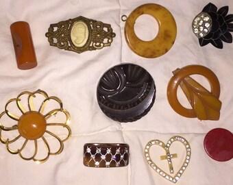 SALE Junk Drawer Vintage Collage Destash Carved Bakelite Buttons French Lucite Scarf Slide Celluloid Brooch  Cameo Pin Heart Cross