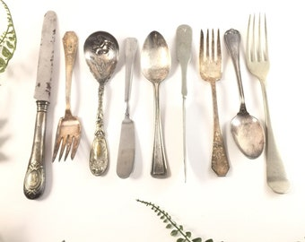 Antique silverware, mismatched silverware, tarnished silver, silver spoons for jewelry making, forks spoons butter knives, set shabby chic