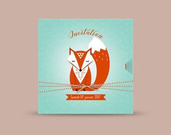 Faire part bapteme/anniversaire thème renard / Invitation thème renard / invitation thème animaux de la forêt / invitation automne