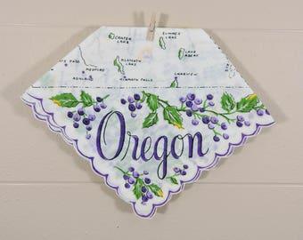 Oregon Vintage Hankie / Oregon Souvenir Hanky / Purple Oregon State Hankie
