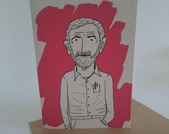 JEREMY CORBYN greetings card, blank inside comrade illustration. Labour, politics, Jezza
