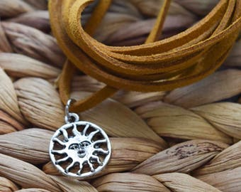 Sun choker necklace | vegan | pick your color | bolo necklace | bohemian | choker | crescent moon | wrap necklace | sun necklace