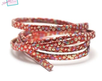 "1 m strap leather 5 x 2 mm, doubled ""Opal"", Red"