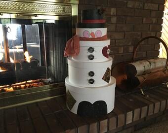 Large Stackable Hat Box Snowman