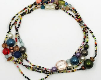 "52"" multi color and multi bead necklace"
