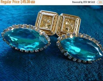 ON SALE Vintage Aqua Rhinestone 1960's Earrings Set of 2 Old Hollywood Glam Black Tie Formal Glamour Girl Rockabilly Retro Jewelry