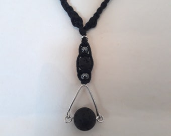 Volcanic Lava Rock with Hematite and Sterling Silver Worry Necklace
