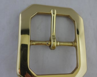 Clip Corner Solid Brass Western Belt Buckle Utility Work Horse High Gloss Horse Tack