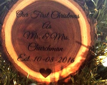 Personalized Our First Christmas Tree Ornament Wood Just Married Christmas Family Ornaments Mr Mrs Engraving Christmas Tree Rustic