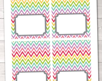 Rainbow Chevron Stripes Blank Printable Buffet Food & Beverage Card Labels INSTANT DOWNLOAD