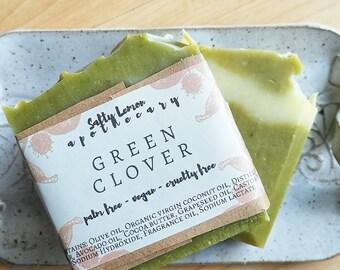 Green Clover Soap- Cocoa Butter Soap- Wheatgrass Soap- Vegan Soap- Handmade Soap- Cold Process Soap- Palm Oil Free- Cruelty Free Soap- Aloe