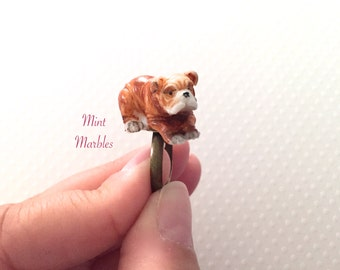 Miniature Bulldog Ring. Dog. Puppy. Dog Lover Jewelry. Brown White Dog. Vintage Style Brass Adjustable Band. Under 20 Gifts. Cute. Animals.