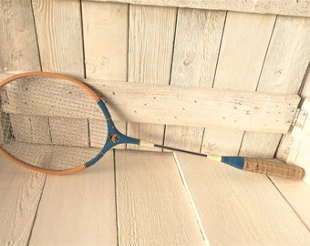 Vintage badminton racket racquet wooden blue 1950s/ free shipping US