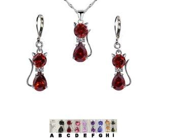 Garnet cat set & other crystals