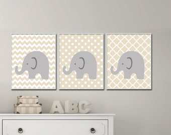 Elephant Nursery Art.  Gender Neutral Nursery Art. Baby Girl or Boy Nursery Art. Suits Beige Nursery Decor -  H963