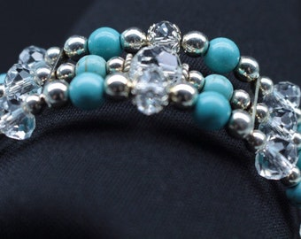 Crystal & Turquoise Beaded Bracelet
