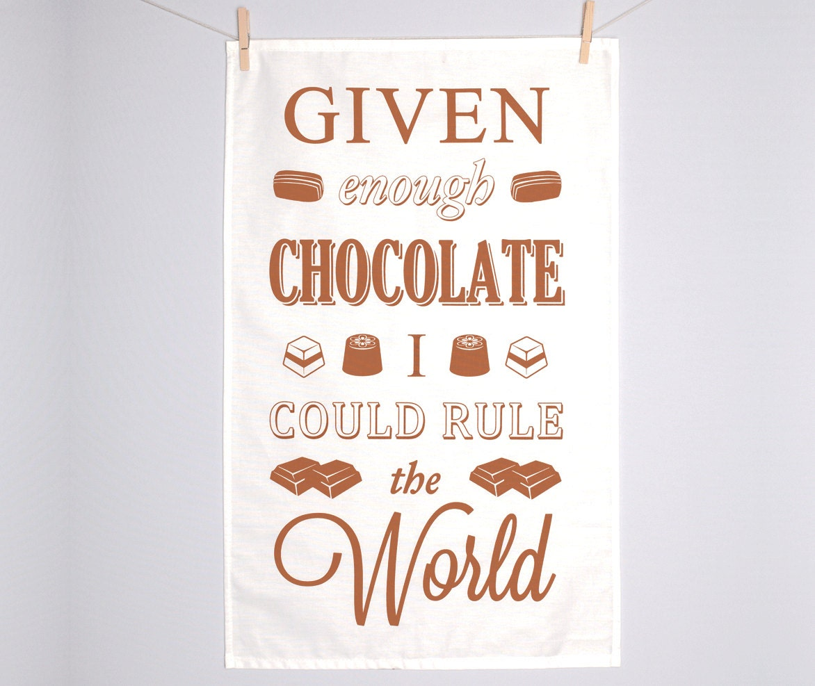 Chocolate tea towel typographic dish cloth easter quotes zoom negle Images