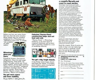 1973 Advertisement Winnebago D-18 Brave Motor Home RV Recreational Vehicle 70s Low Cost Give You More Wall Art Decor