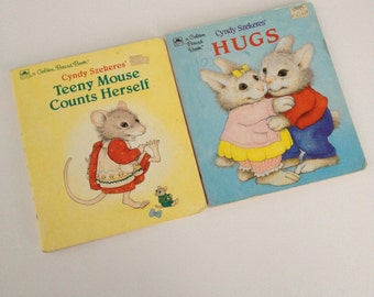Two Vintage Golden Board Books - Cyndy Szekeres - Hugs and Teeny Mouse Counts Herself