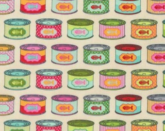 Tula Pink Fabric - Cat Snacks in Strawberry Fields - Tabby Road Collection - Tuna Can Fabric - Free Spirits - Quilting Cotton