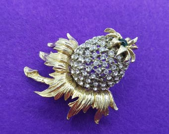 Hobe Thistle Brooch Silvers and Golds  Flower Figural