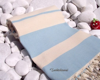 Turkishtowel-High Quality,Hand-Woven,Pure Cotton,Bath,Beach,Spa,Yoga,Travel Towel or Sarong-Natural Cream and Pastel Turquoise,Aqua Stripes
