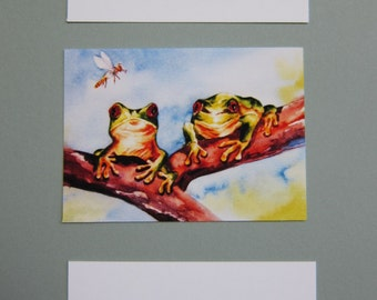 Red Eyed Tree Frogs ACEO variety - You pick watercolor One print green yellow frogs