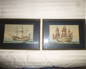 1800s Watercolor French Navy Ship Paintings - Set of 2 - Unsigned - Wonderful colors and details - Great Flags -Matted and fraed under glass