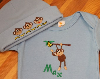 Personalized Embroidered Baby Onepiece Bodysuit and Cap - Monkey Fun