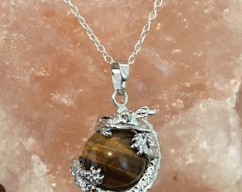 Tiger's Eye Dragon Crystal Healing Ball Stone Pendant on Silver Chain Necklace.