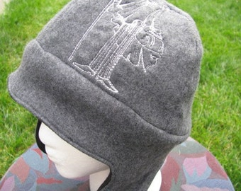 Plague Raven Doctor on Gray and Black Fleece Ear Flap Hat