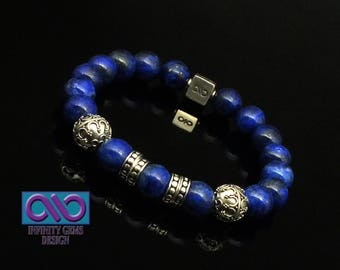 Aqua Lapis Lazuli 10mm AAA Grade Beads 2 x 10mm Handmade Sterling Silver Beads, 4 x S/S Dot beads, and an 8mm x 8mm S/S Infinity LOGO Bead