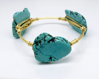 Wire Wrap Bangle - Stackable Gold Bangle Turquoise Howlite Turquoise Available - Handmade Gold or Silver Wire