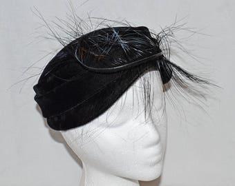 Vintage Mod Pillbox Hat - Black Velvet with Feather, 1960s