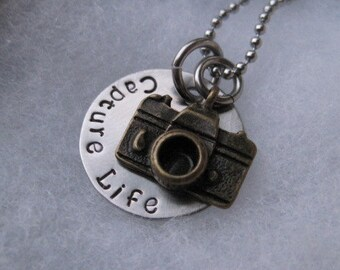 Hand Stamped Jewelry - Capture Life - Photographer Jewelry - Custom Made - Personalized - Camera Necklace
