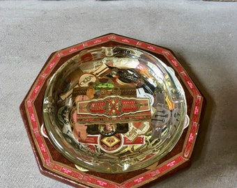 Altered 8 Sided Cigar Ashtray Decorated with Cigar Bands