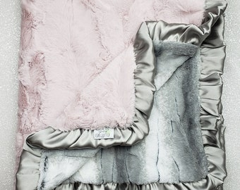 Minky blanket, faux fur throw, baby blanket, baby girl blanket, vintage pink, elegant plush blanket, pink and grey, angora, soft blanket
